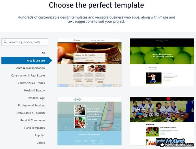 1&1 website builder review: template examples.