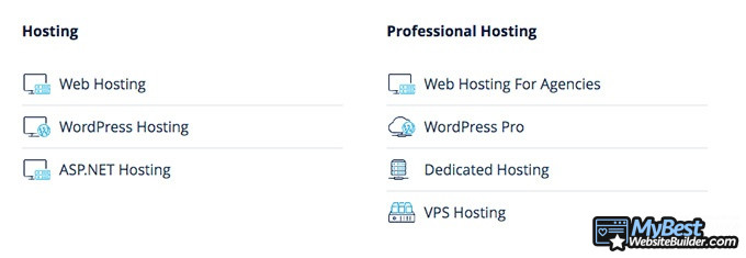 1&1 hosting reviews: hosting types.