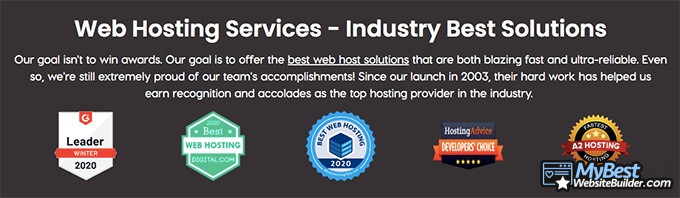 A2 Hosting reviews: web hosting service awards.
