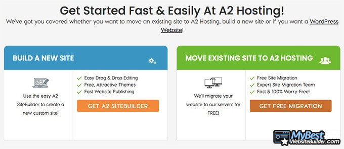A2 Hosting reviews: website builder.