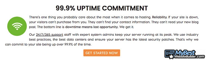A2 Hosting reviews: uptime guarantee.