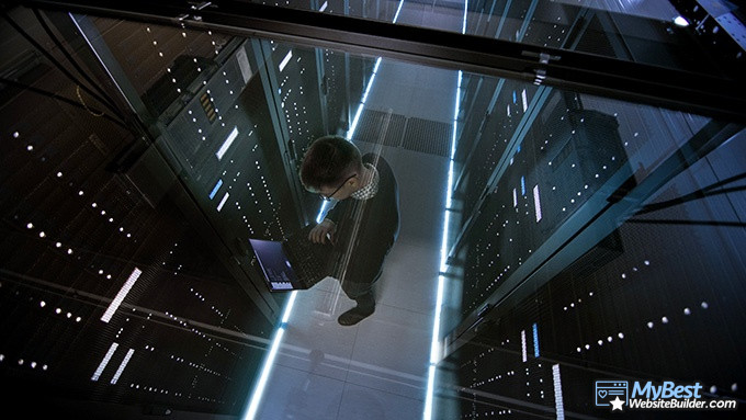 Best VPS hosting: a man working on servers.