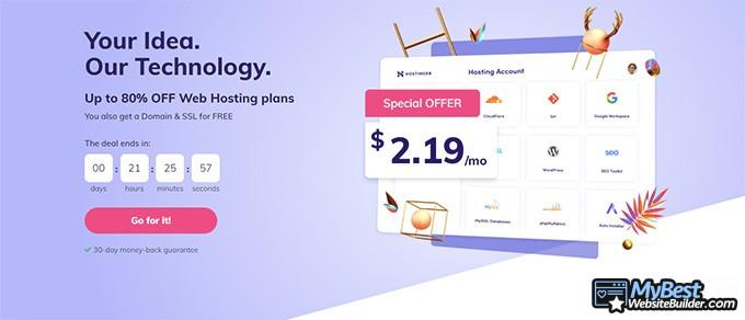 Best web hosting: Hostinger.