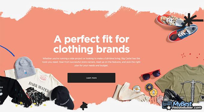 Big Cartel review: website builder for clothing brand.
