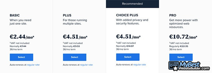Bluehost reviews: pricing options.
