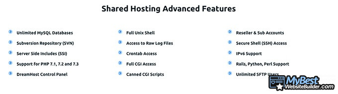 DreamHost reviews: advanced features.