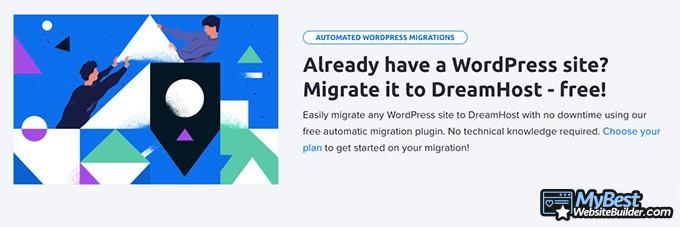 DreamHost reviews: site migration.