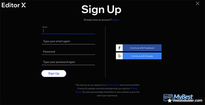 Editor X review: sign-up process.