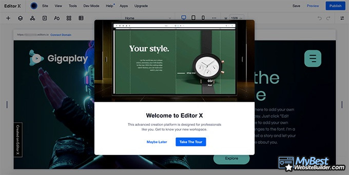Editor X review: welcome to the dashboard.