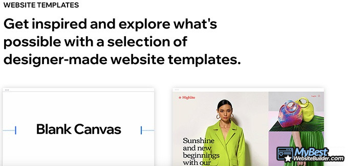 Editor X review: get inspired with templates.