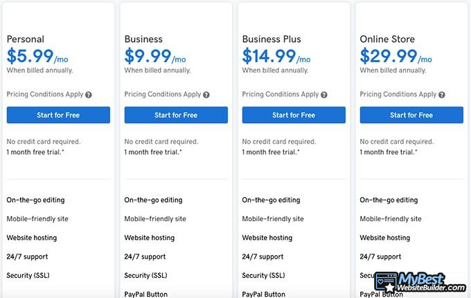 GoDaddy website builder review: pricing options.