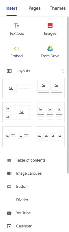 Google Sites review: GS interface and menu.