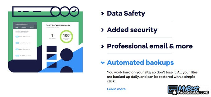 HostGator review: automated backups.