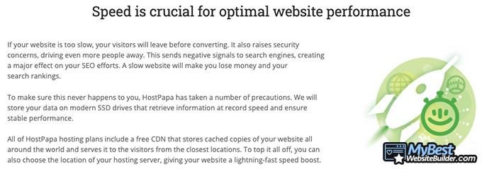 HostPapa review: website performance.