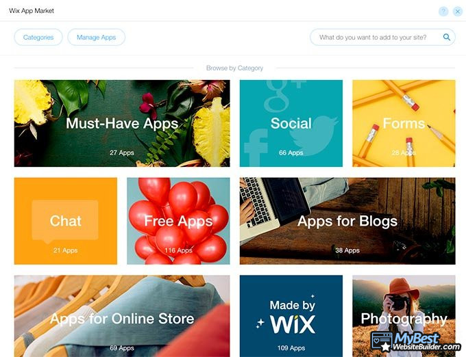 How to make a website: Wix app store.