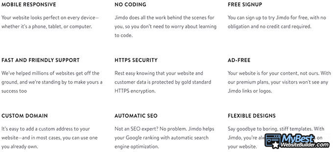 Jimdo review: feature list.