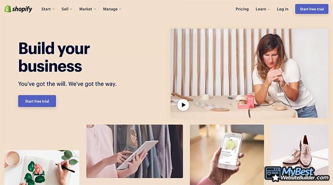 Análise do Shopify: página principal