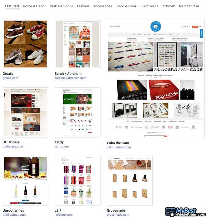 Análise do Shopify: exemplos da web