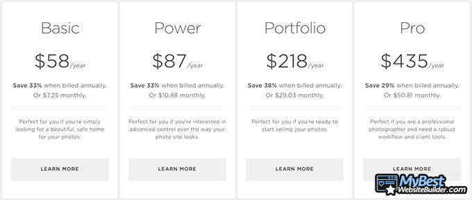 SmugMug review: pricing plans.