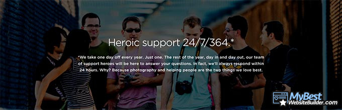 SmugMug review: 24/7/364 support.