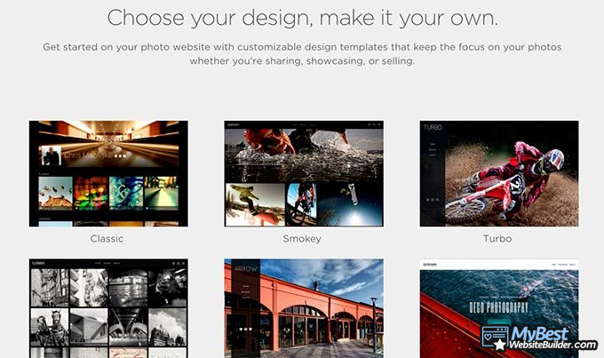 SmugMug review: the builder's templates.