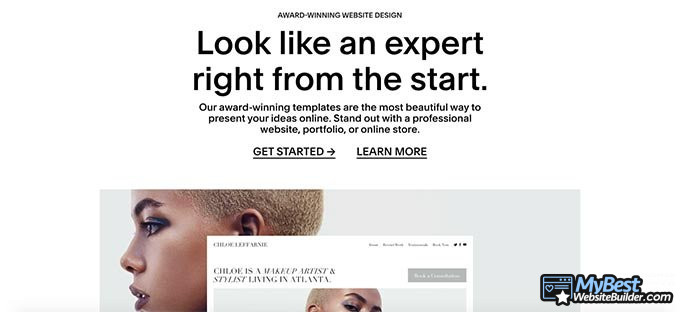 Squarespace review: part of the homepage.
