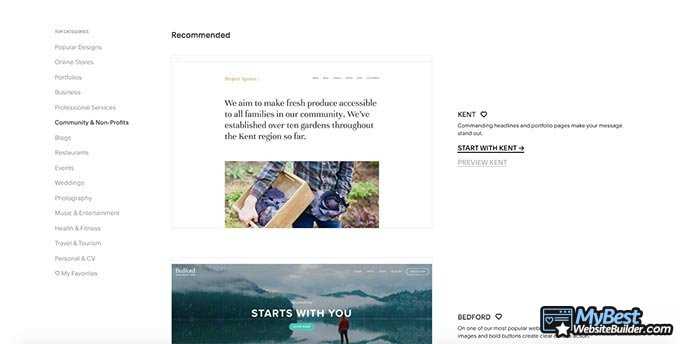 Squarespace review: theme templates.