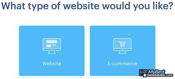 Análise do Webnode: tipo de site.