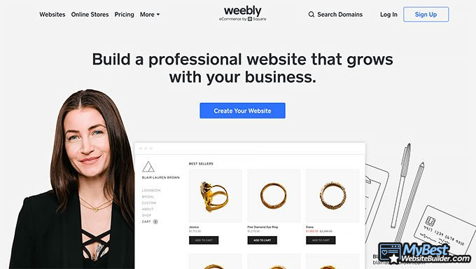 Weebly review: homepage
