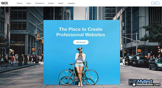 Wix review: homepage