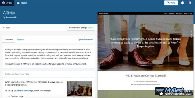 WordPress review: the affinity theme.