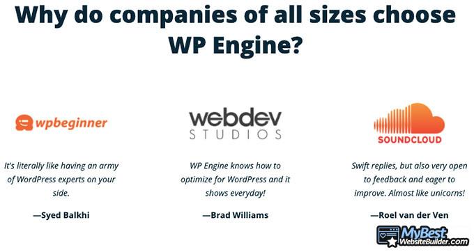 WP Engine reviews: customers.