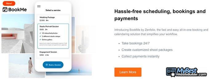Análise do Zenfolio: Agendamentos e pagamentos